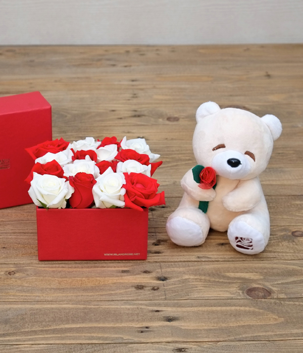 Box of Roses With Teddy Bear as a Long-Distance Relationship Gift
