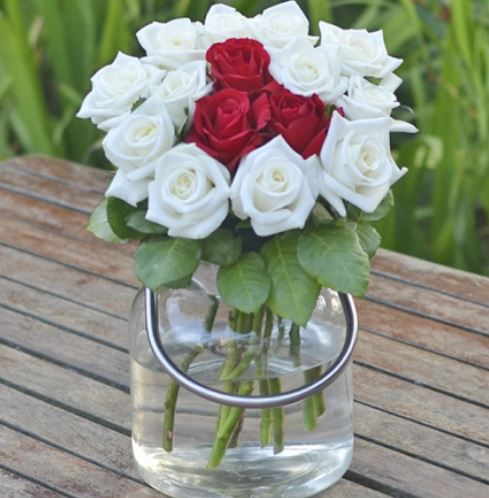 A Lovely Mix of White and Red Roses: Be My Valentine